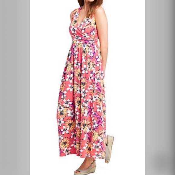 3cf64791b45 NWT Lands  End 2X Floral Surplice Maxi Dress
